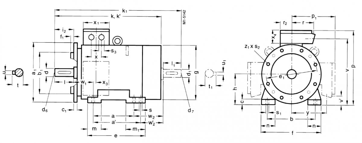 Габаритные и присоединительные размеры 1MG7 (фланец. 225S-315M)