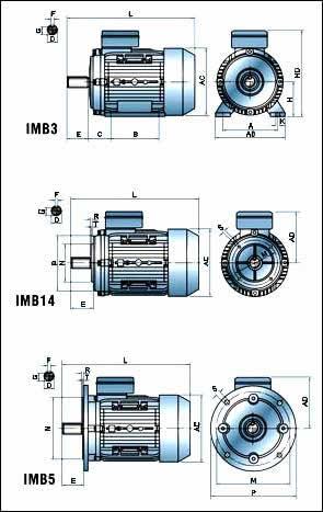 Присоединительные размеры двигателя с тормозом Able MSEJ