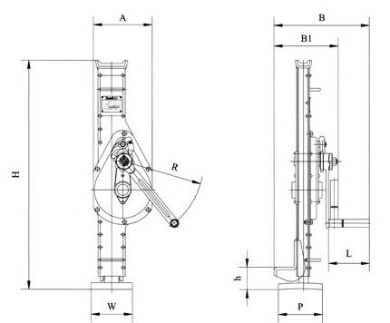 Домкрат реечный QJC - схема