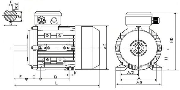 В3 Размеры электродвигателей