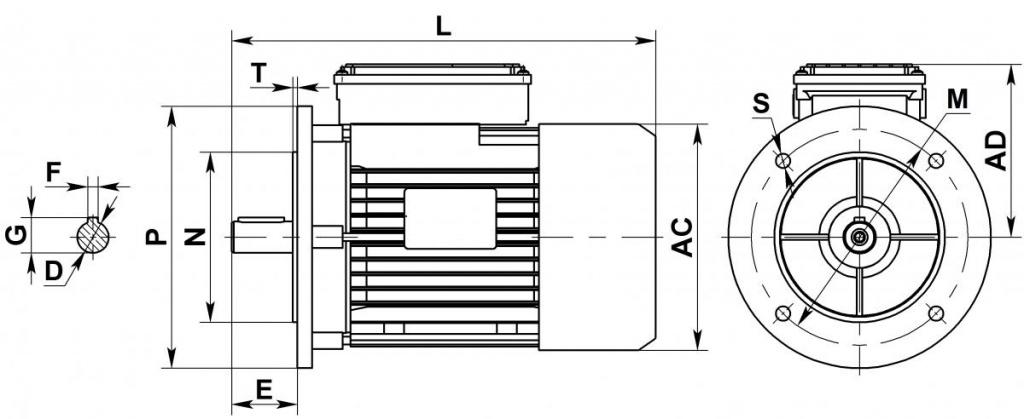 Монтажные и габаритные размеры электродвигателей ABLЕ ML